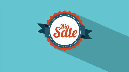 Big sale advertisement on label, Video animation, HD 1080