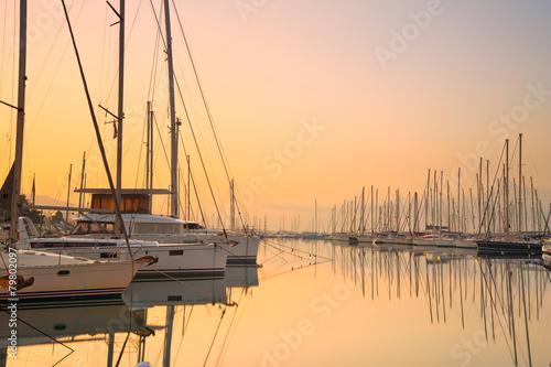 Fotobehang Athene Sunset in Alimos marina in Athens, Greece.