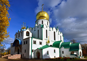 Fedorovskiy cathedral in Pushkin in autumn,