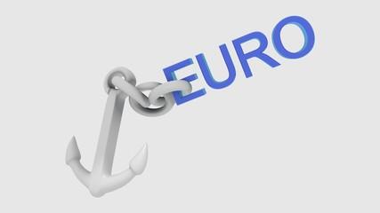 Euro im Fall mit einem Anker