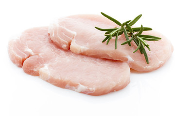 Pork chop on a white background.