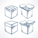 Set with four sketch boxes