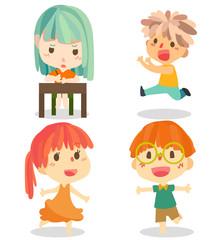 children vector cute