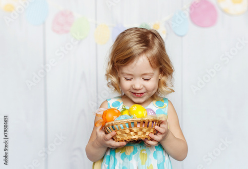 canvas print picture girl holding Easter basket
