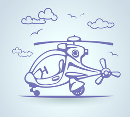 Abstract helicopter, stylization, vector