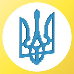 Coat of arms of Ukraine in pixel style