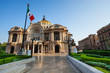 Palace of fine arts facade and Mexican flag - 79806219
