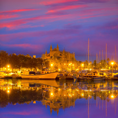Palma de Mallorca sunrise with Cathedral and port