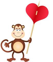 Cute Monkey carries heart