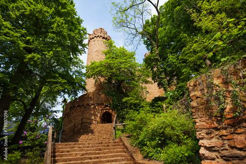 Leinwandbild Motiv Auerbach castle entrance in spring trees foliage