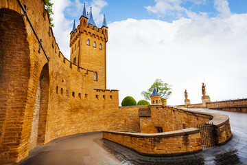 Inner yard of Hohenzollern castle after rain