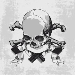Skull and guns, crossbones and ribbon