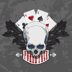 Poker face-Skull and four aces