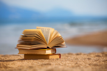 Books on a beach