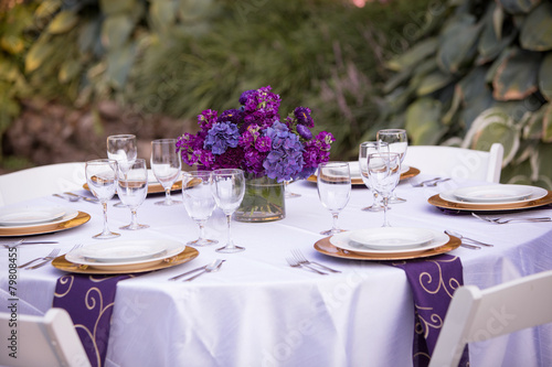 Table Setting at a Wedding Reception - 79808455