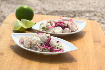 Peruvian ceviche (fish, onion, coriander in lime juice)