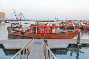 Dhow fishing boats in the harbor of Kuwait City, Middle East