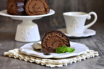 Chocolate biscuit roll.