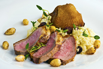 Duck breast steak with couscous