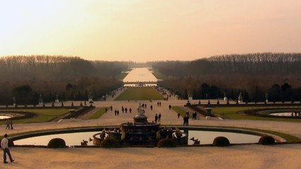 Versailles garden view from steps of the palace to grand canal