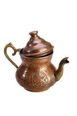 Turkish copper kettle for tea on a white background