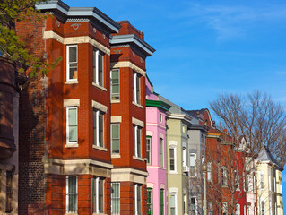 Residential row houses in US Capital before sunset