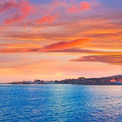 Palma de Mallorca sunset at port in Majorca