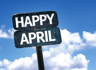 Happy April sign with sky background
