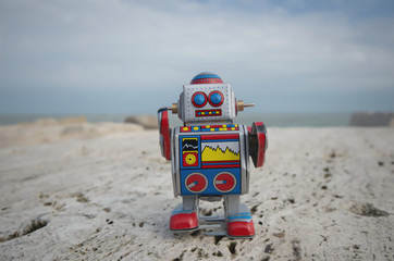 My sweet tin toy robot on the rocks