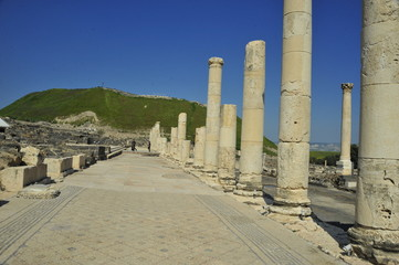 Stone columns in the Bet She'an National Park, Israel