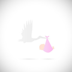 Stork and Baby Illustration