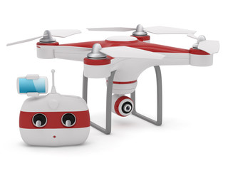 Quadrocopter drone with the camera and Radio remote controller w