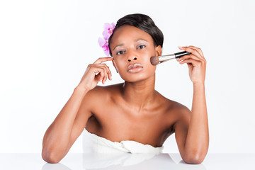 Beautiful African woman in Studio with makeup