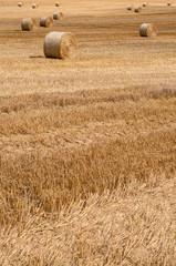 Strohballen im Spätsommer, Landwirtschaft, Stoppelfeld
