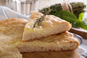 Traditional yeast flatbread with potato