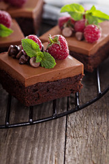 Chocolate mousse brownies with raspberry