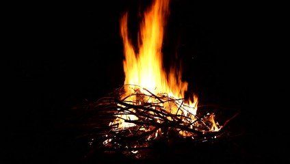 Camp fire at night, outdoor