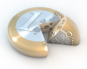 Euro Käse Torte Laib im Anschnitt