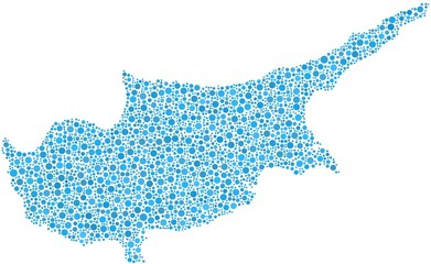 Map of Cyprus in a mosaic of blue bubbles