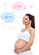 Thinking pregnant woman