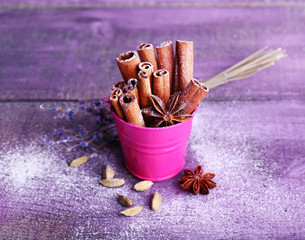 Spices with lavender and powdered sugar
