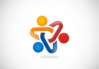 teamwork people connection vector logo