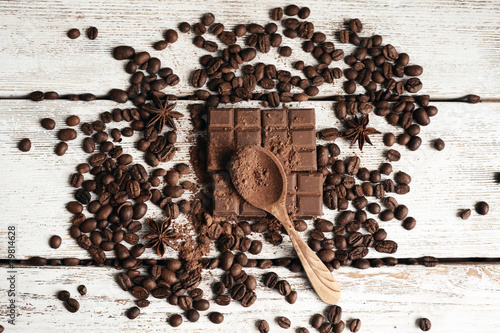 Fotobehang Kruiden 2 Still life with chocolate, grains and spice on wooden