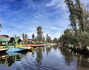 Color boats at Xochimilco, Mexico City