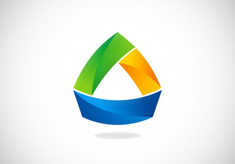 triangle 3D abstract vector logo