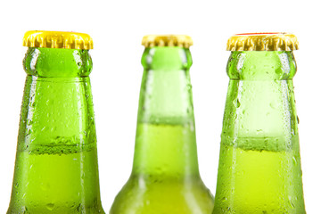 Cold beer with green bottles