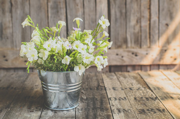 Vintage style White flowers stainless pot on wooden background,