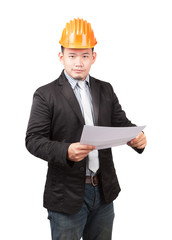 young asian wearing safety helmet working engineering man holdin