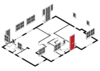 Blurred background of isometric residential house