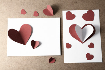 Beautiful hand made post cards  with paper hearts